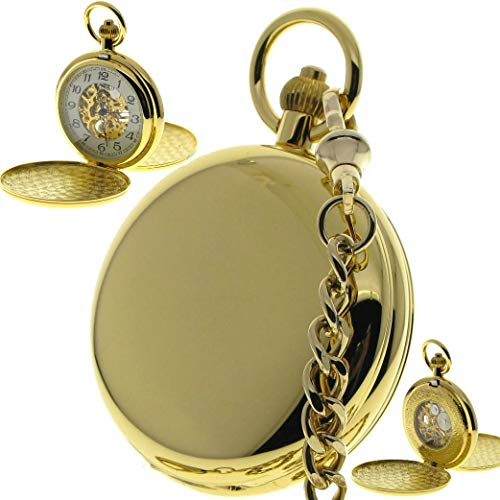 Double Full Hunter Mechanical Gold Pocket Watch 17 Jewels Hand-Winding Skeleton Large Size 50 MM P37