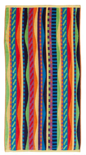 Cotton Craft 2 Pack - Jacquard Double Woven Velour Beach Towel 32x63 - Summer Waves Multi - Thick Plush Luxurious Velour Pile - 450 GSM - 100% Pure Ringspun Cotton - Brilliant Vibrant Colors - Beach Towel Craft