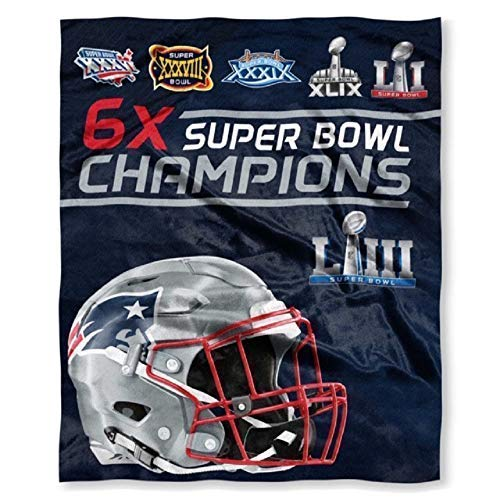 Northwest New England Patriots Commemorative 6X Super Bowl Champions Silk Touch Throw - 50