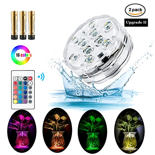 Submersible Swimming Pool Led Lights with Remote Controlled Powered by Battery RGB 16 Colors Changable Waterproof IP68 for Hut Tub Garden Halloween Home Decorations and Christmas Party 2 PACK by Trend Wind