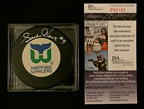 Gordie Howe Signed Hartford Whalers Trench Puck JSA Authe...