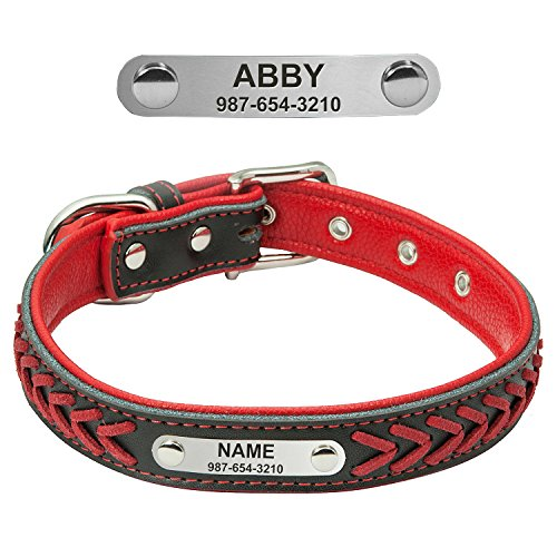 FunTags Personalized Leather Dog Collars,Custom Nameplated Engraved Pet Collars,Braided Dog Collars with On Collar Tags for Xsmall,Small,Medium,Large,Extra-Large (Custom Printed Tag)