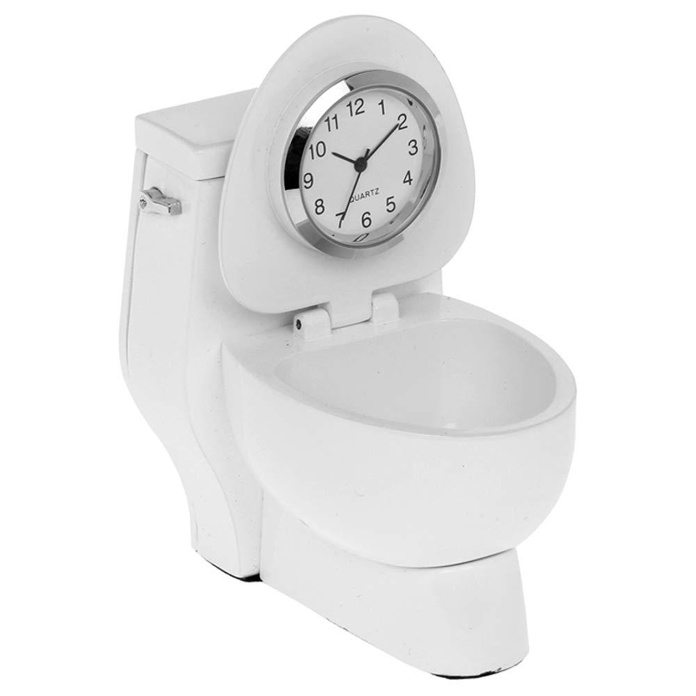 Miniature White Toilet Quartz Movement Novelty Collectors Clock 0123