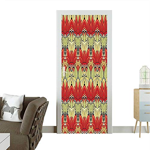 Homesonne 3D Photo Door Murals Asian Batik Blooms Motif in Colors Ornate Nature Inspired Boho Floral Boho Image Easy to Clean and applyW30 x H80 INCH