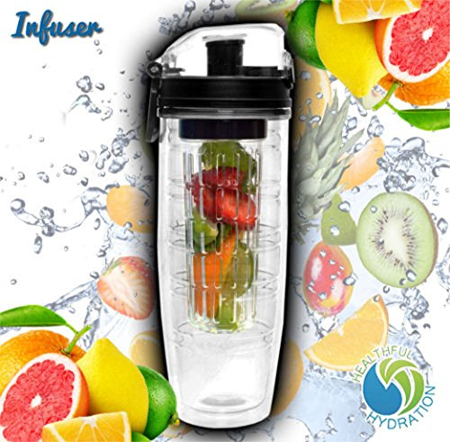 Double Wall Insulated Fruit Infuser Sports Water Bottle Healthful Hydration No Sweat Travel Tumbler Infusion Fruit Diffuser 22 Oz