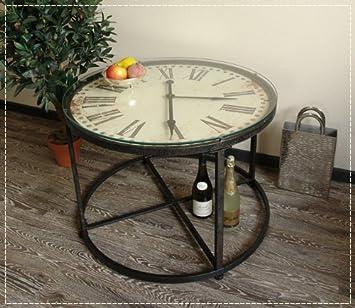 Runder Couchtisch Mit Uhr O 80 Tisch Mit Glasplatte Und