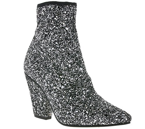 Buffalo Damen Stiefeletten BB 2014 Ankle Boots Booties Glitzer Glitter Silber