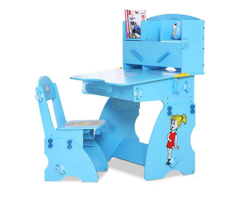 Portable Folding Chair Solid Wood Children's Study Table Chair Combination Set Liftable Primary School Students Desk Convenient and Practical (Color : Blue)