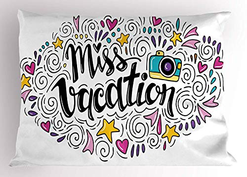 K0k2t0 Quote Pillow Sham, Cheerful Composition Miss Vacation Words Travel Theme Doodle Ornament Retro Camera, Decorative Standard Queen Size Printed Pillowcase, 30 X 20 inches, Multicolor