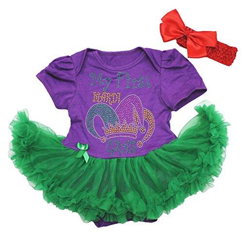 Petitebella My First Mardi Gras Purple Bodysuit Green Tutu Baby Dress 0-18m (12-18month)]()