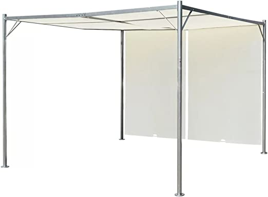 Tidyard Gazebo Pérgola Cenador de Jardín y Toldo con Techo retráctil Blanco Crema Acero 3x3 m: Amazon.es: Hogar