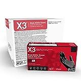 X3 Industrial Black Nitrile Gloves, Case of 1000, 3