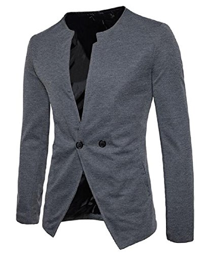 - RSunshine Mens Trim-Fit Long-Sleeve Solid Color Banded Collar Jacket Suit Dark Grey M