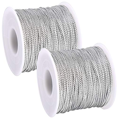 BTNOW 2 Spool 218 Yards/ 656 Feet Silver Metallic Cord Jewelry Thread Craft String for Christmas Ornaments Hanging and Craft Making (Silver)