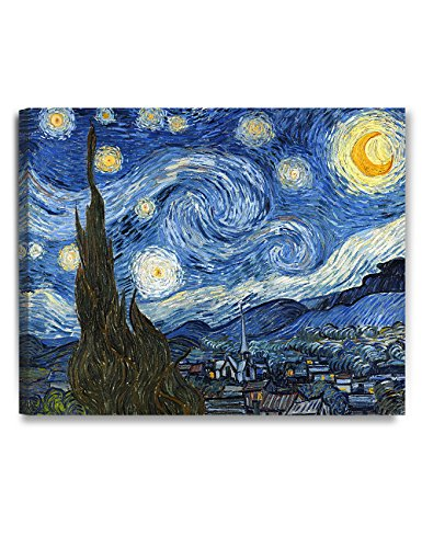 DecorArts - Starry Night - Vincent Van Gogh Reproductions. Giclee Canvas Print Wall Art for Home Wall Decor. (Night Oil Painting)