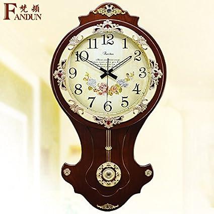 La moda europea King Size tranquilo salón contemporáneo relojes antiguos Reloj de pared Reloj de cuarzo