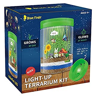 Light-up Terrarium Kit for Kids with Colorful LED on Lid - Kids Birthday Educational Gifts for Boys & Girls Mini Garden in a Jar Great Science Kits - Gardening Gifts for Children - Kids Toys