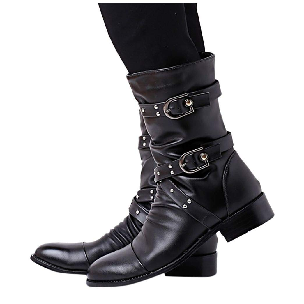 Women's Genuine Leather Short Buckle Boots, Flats Low-Heeled Cross Strap Zipper Round Toe Knight Boots Black by Frunalte Women Shoes