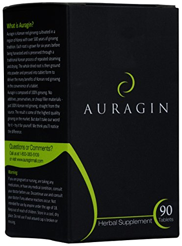 Auragin® Authentic Korean Red Ginseng - Made in Korea - 6 Year Roots - No Additives or Other Ingredients - 100% Red Panax Ginseng in Every Tablet (Best Ginseng For Men)
