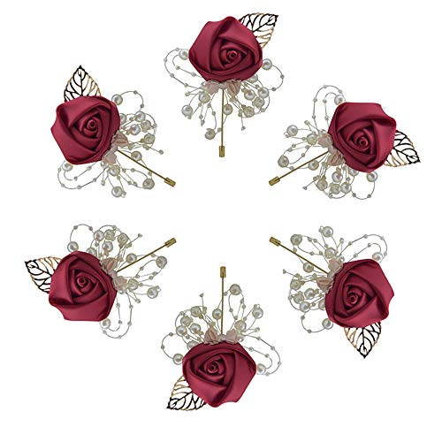 (Buery 6 Pieces/lot Wedding Boutonniere Handmade Rose Boutonniere Corsage with Pin, Lapel Pin Rose Wedding Boutonniere for Wedding Prom Party Decor (Red))