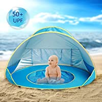 Hoomall Baby Beach Tent Pop Up Collapsible Portable Shade Pool UV Protection Canopy Sun Shelter Playhouse for Infant,Carry Bag Included,50+ UPF (Round))