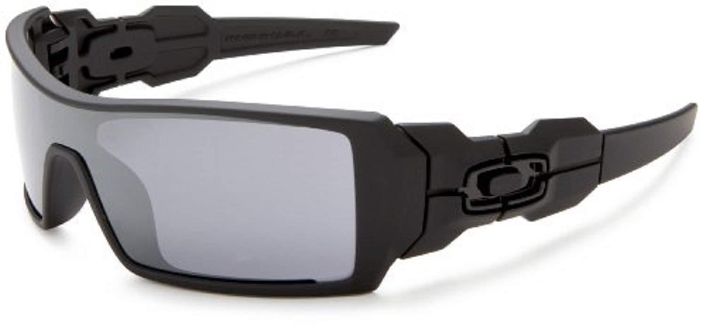 Oakley Men's OO9081 Oil Rig Shield Sunglasses, Matte Black/Black Iridium, 28 mm by Oakley