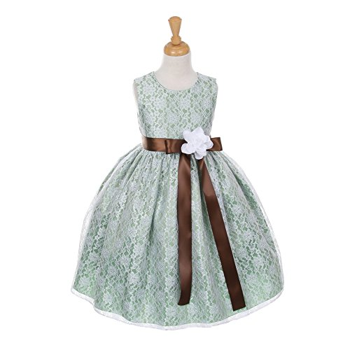 Sash Taffeta Wedding Dress (Cinderella Couture Little Girls Sage Lace Brown Sash Sleeveless Dress 4)
