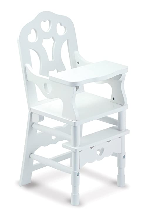 Amazon.com  Melissa   Doug 9382 White Wooden 20-Inches Tall Doll High Chair   Melissa   Doug  Toys   Games b6f7f97ed