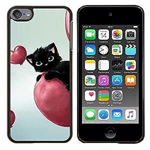 Eason Shop / Premium SLIM PC / Aliminium Casa Carcasa Funda Case Bandera Cover - Lindo Gato Negro - For Apple iPod Touch 6 6th Touch6