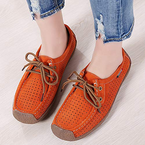 Sneakers ZHZNVX Coffee Summer Comfort Spring Moccasin Flat amp; Blue Suede Red Orange Shoes Women's Heel wXPrqw8