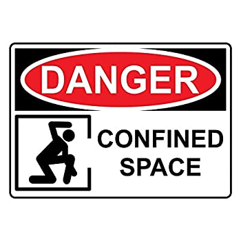"Danger Confined Space OSHA Sticker, 5""x3.5"""