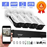 4MP Security Camera System,Safevant 8CH 4MP DVR Home Security Camera System(2TB Hard Drive),4PCS 4MP Indoor/Outdoor Security Cameras,Motion Detection,Smartphone&PC Easy Remote Access