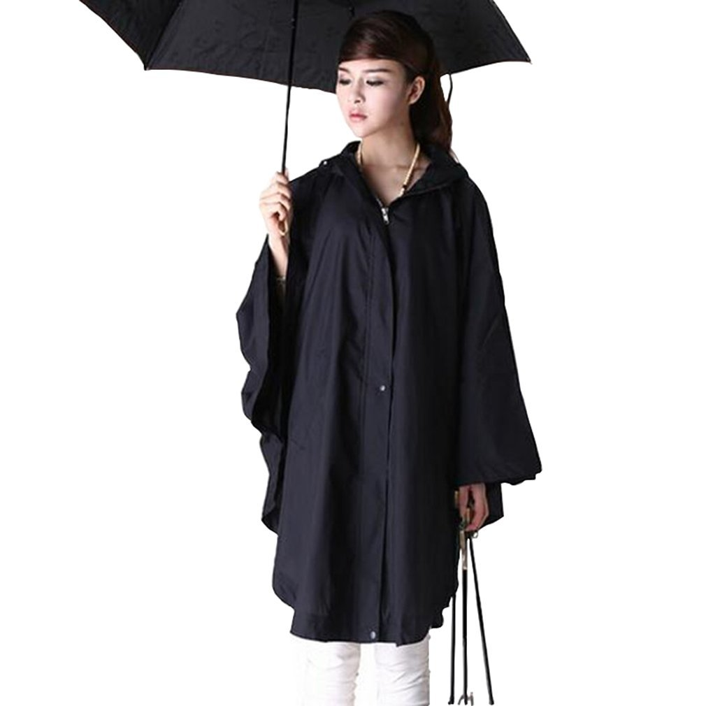Japanese Style Cloak Ultralight Polyester Raincoat Women Cute Trench Coat Female Waterproof Breathing rain Poncho (Black, One Size)