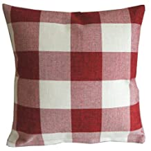 Red White Checkers Plaids Throw Pillow Case Sham Decor Cushion Covers Square 18x18 Inch Linen by Leaveland