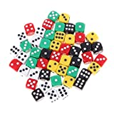 Jili Online Pack of 50 D6 Dice 16mm Small Tiny Rounded Edge Die with Dice Carry Bag for Children Kids Gift