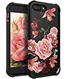 KapCase Case for iPhone 8 Plus,Case for iPhone 7 Plus Cute Flower for Girls/Women Slim Fit Dual Layer Protection TPU and Plastic Hybrid Floral Case for iPhone 7plus/8plus,Black