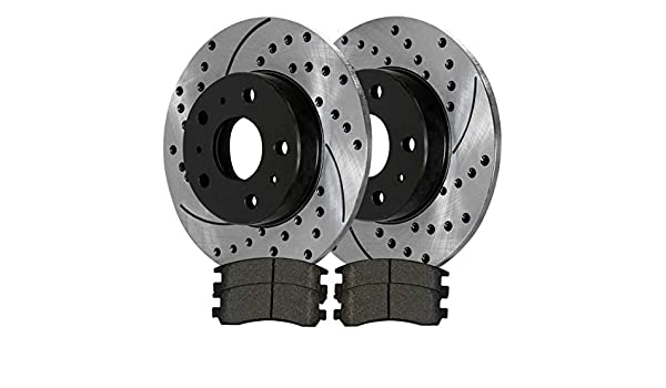 Auto Shack SCDPR4135841358996 Rear Drilled and Slotted Brake Rotors and Ceramic Pads