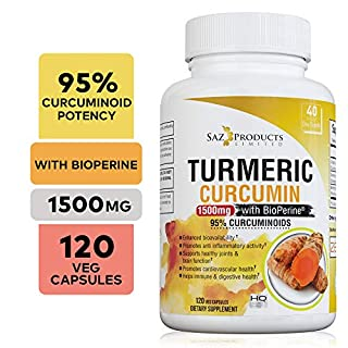 Organic Turmeric Curcumin with BioPerine - Potent Anti-Inflammatory - Contains 95% Curcuminoids and Black Pepper Extract for Fast Absorption - 1500 Milligram Vegan Capsules - 40 Day Supply