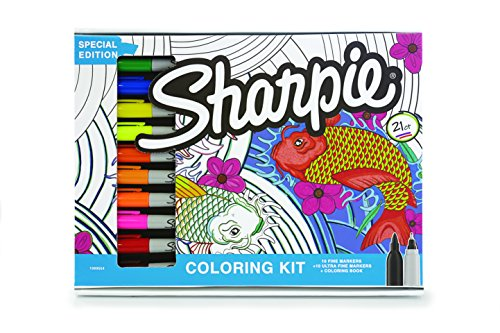 Sharpie 1989554 Permanent Markers, 10 Fine & 10 Ultra-Fine Tip, Assorted Colors with Aquatic-Themed Adult Coloring Book by Sharpie (Image #1)