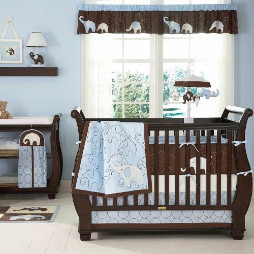 Blue Elephant 5 Piece Baby Crib Bedding Set with Bumper by Carters, Baby & Kids Zone