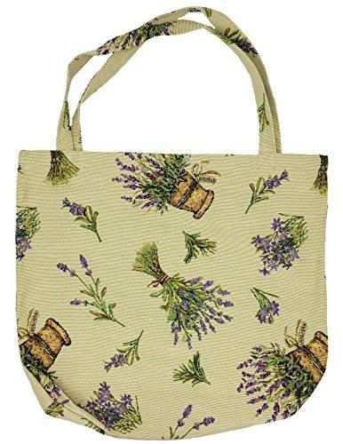 Einkaufstasche, Stofftasche Leinen 45 x 45cm, Motiv Lavendel, Einkaufsbeutel Gobelin-Stil