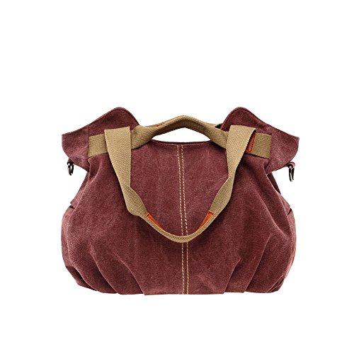 (Women's Vintage Hobo Canvas Daily Purse Top Handle Shoulder Tote Shopper Handbag)
