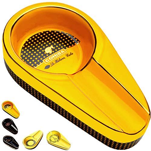 roygra Cigar Ashtray for Patio Single Ceramic Outdoor Ash Tray for Cigars Portable Travel Porcelain Cigar Ashtrays (A - Yellow)