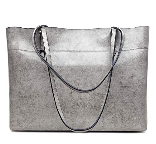 Soft Genuine Shoulder Women's Hot Handbag Bags Covelin Leather Grey Tote across Silver x40Ba4nwq