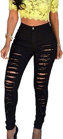 Houyazhan Mujer De Talle Alto Flaco Jeans Rotos Denim Pant Sexy Pantalones Vaqueros De Las Senoras Color Negro Size M Amazon Es Hogar