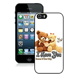 Cute Love Heart Bear Valentines Day Pictures Design Cases For Iphone 5 5S Black
