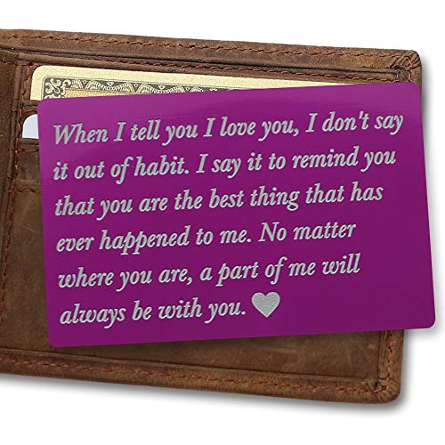 Personalized Wallet Card, Purple Metal Wallet Card, Mini Love Note, When I Tell You I Love You, Deployment Gifts for Him, Valentines gift, Anniversary gifts