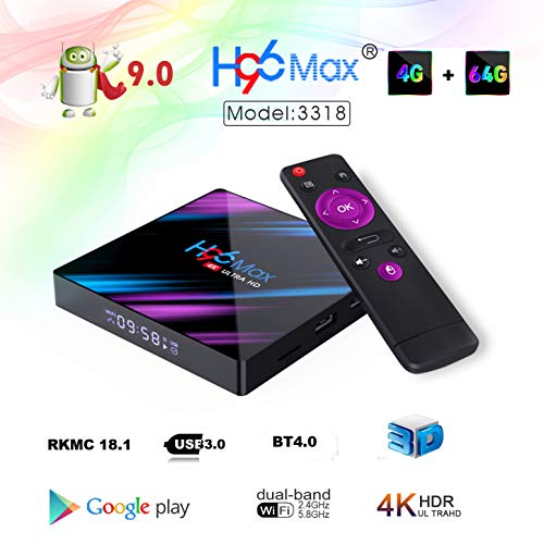 H96 MAX Android 9.0 TV Box 4GB 64GB EstgoSZ Android Box USB 3.0/BT 4.0/2.4G 5G Dual WiFi/3D/4K/H.265 KD18.1 Smart Android TV Box