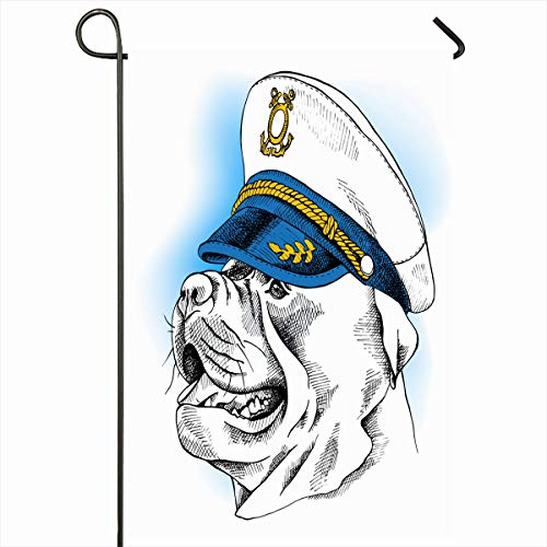 (Ahawoso Outdoor Garden Flag 12x18 Inches Terrier Navy Boat Dog Staffordshire Bull Master Sailors Cap Captain Commander Design Hat Two Sides Seasonal Home Decor House Yard Sign Banner)
