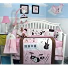 SoHo Pink and Brown Rock Band Baby Crib Nursery Bedding Set 13 pcs included Diaper Bag with Changing Pad & Bottle Case
